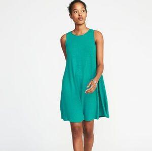Sleeveless Knit Swing Teal stretchy  tunic dress